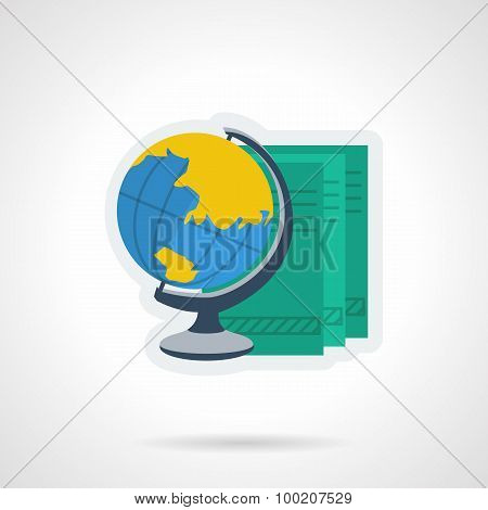 Globe and books flat color vector icon