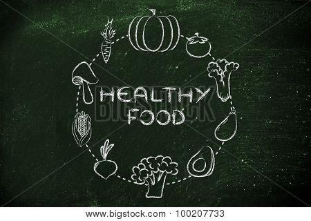 Healthy Food, Vegetables Illustration