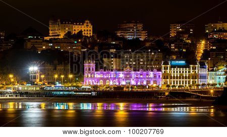 Great Casino Of Santander Iluminated At Night