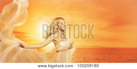Woman Beauty Portrait In Sun Lights, Fashion Model Girl With Silk Shawl, Sunset On Sea