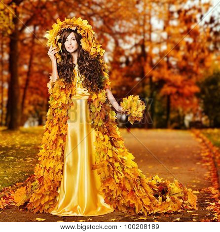 Woman Autumn Fashion Portrait, Fall Leaves Cape, Model Girl In Yellow Fantasy Park