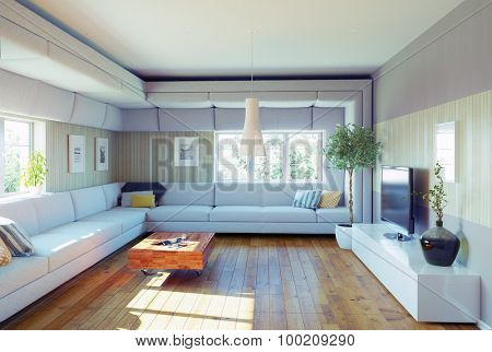 super sofa concept. living room interior. 3d illustration design idea