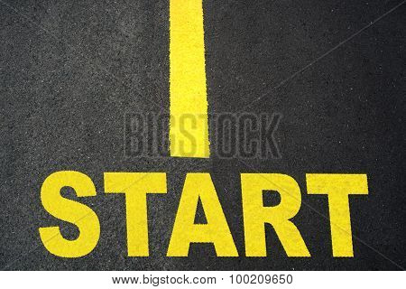 Start up Sign on Road Closeup