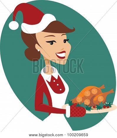 Woman Holding Roasted Christmas Turkey