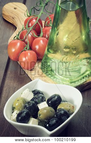 Vintage Photo Of Salad Of Cheese, Black And Green Olives.
