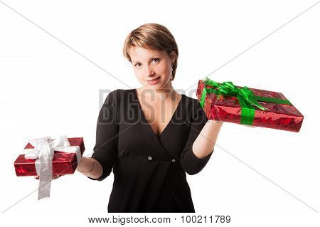 Pretty woman holding two gift boxes in hands
