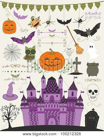 Vector Colorful Hand Sketched Doodle Halloween Icons
