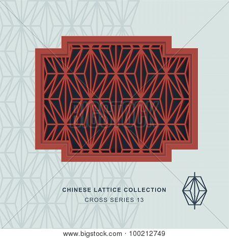Chinese window tracery cross frame 13 rhomb