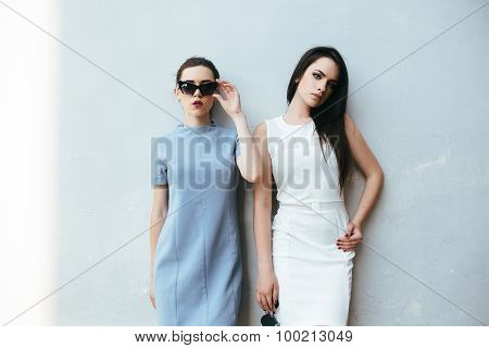 Two beautiful friends pose on white background