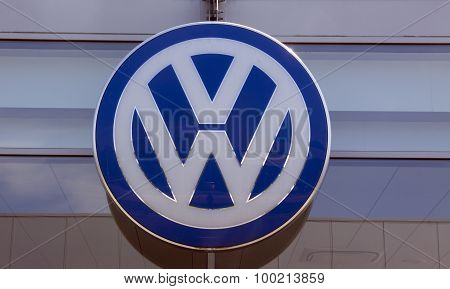 Volkswagen Logo At A Garage In Amsterdam
