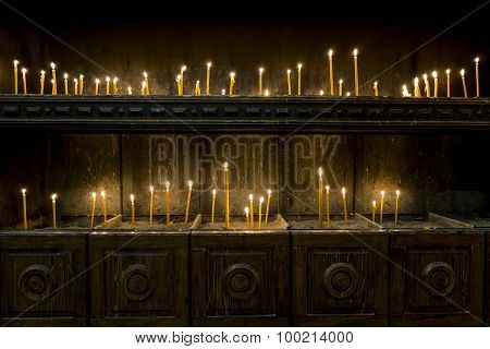 Burning Candles In The Church Of St. Nicholas In The Old Town Of Kotor