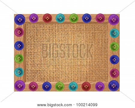 Linen Texture In Wooden Frame With Buttons Isolated On White Background
