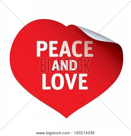 Red Heart And Sticker Peace And Love