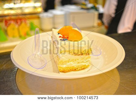 Colorful sweet pastry ready to serve with spoon