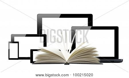 Tablet Pc, Mobile Phone, Computer And Openned Book