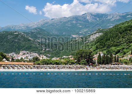 Becici Beach In Budva, Montenegro.