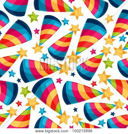 Celebration festive seamless pattern with fool caps