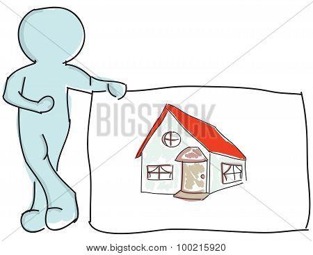 Drawn puppet standing near house