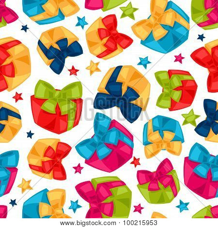 Celebration festive seamless pattern with gift boxes