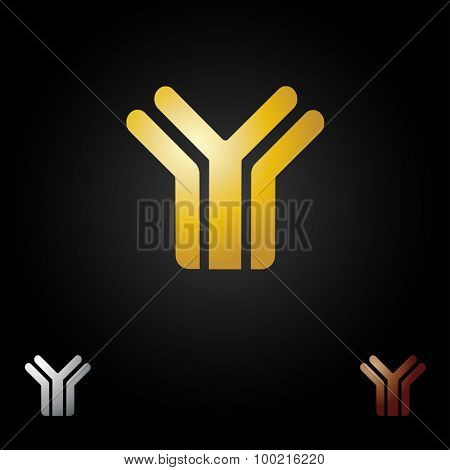 Letter Y logotype design. Abstract letter icon logo in gold color on black background