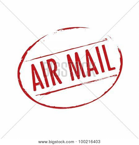 Red Grunge Stamps Air Mail