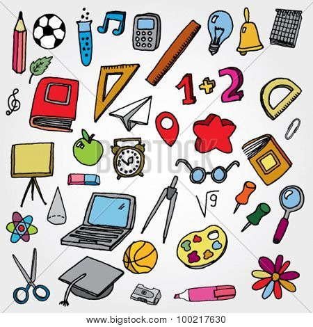 School Stuff Icons Colorfull
