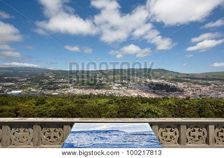 Azores Landscape. Angra Do Heroismo From Monte Brasil. Terceira. Portugal