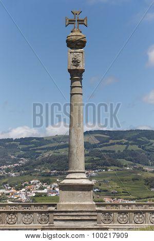 Memorial Column In Monte Brasil. Agra Do Heroismo. Terceira. Azores