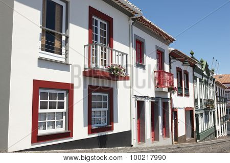 Traditional Azores Street In Angra Do Heroismo. Terceira Island. Portugal