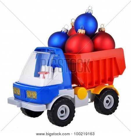 plastic toy truck with christmas ball toys