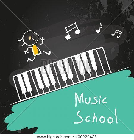 Kids music school, piano keyboard. Vector illustration, chalk on blackboard.