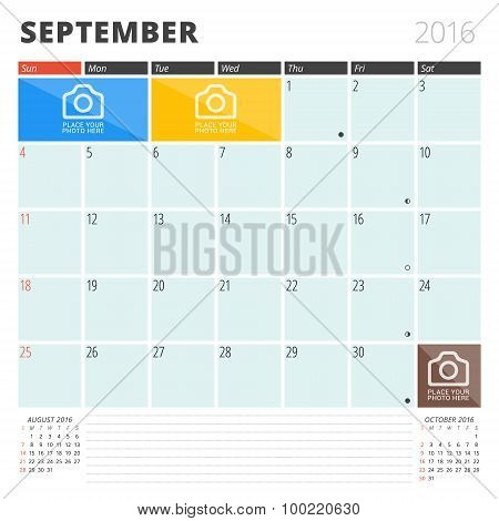 Calendar Planner 2016 Design Template With Place For Photos And Notes. September. Week Starts Sunday