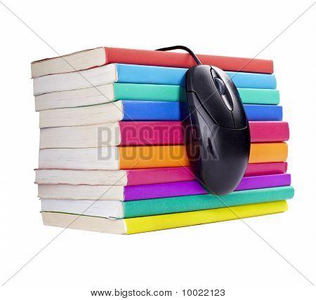 Escuela de Educación de Control de computadora de libros colorido ratón
