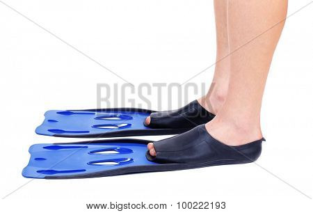 Male legs in flippers isolated on white