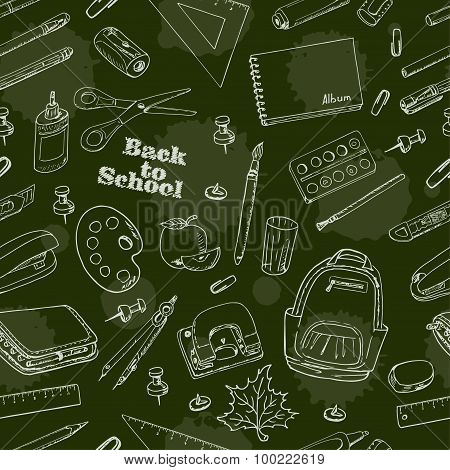Back to School doodles seamless pattern on a green background