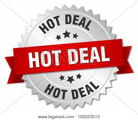 Hot Deal 3D Silver Badge With Red Ribbon