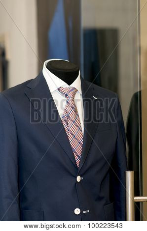 Blue Suit  On A Mannequin