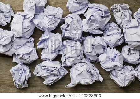 A Lot Of Paper Ball On Wood Table Background