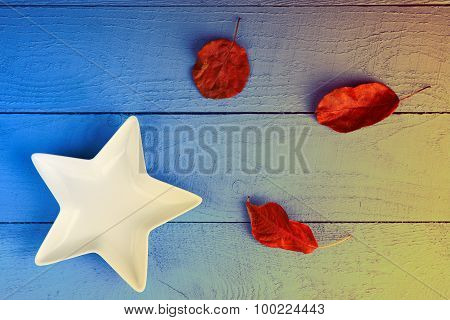 Plate and leaf litters on wooden background