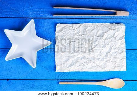 Kitchenware, plate and sheet of paper