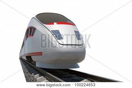 Modern train on rails