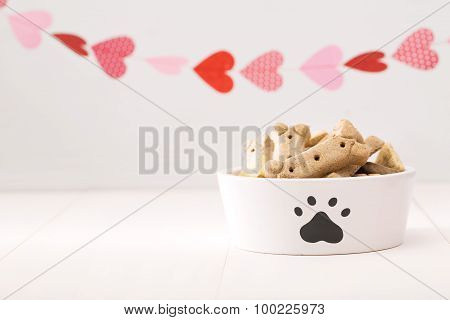 Dog Treats On A White Bowl