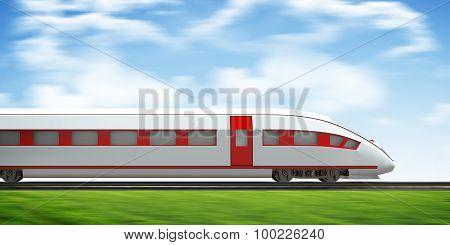 Train moving forward on rail-tracks, side view