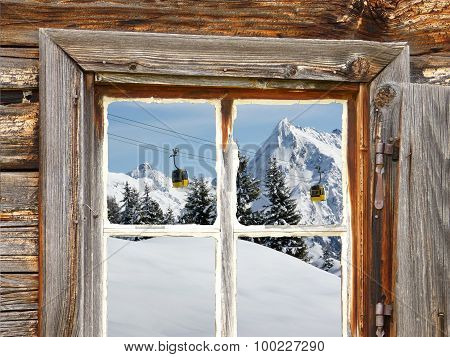Looking through the wooden window on a gondola