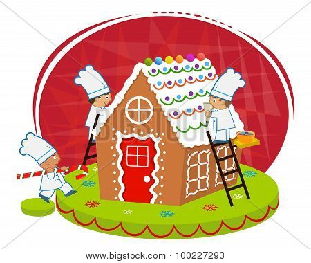 Chefs and Gingerbread house