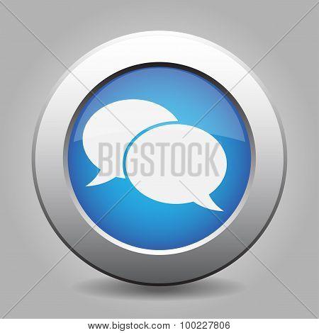 Blue Metal Button With Speech Bubbles