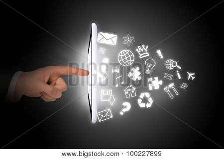 Tablet with icons and pointer finger