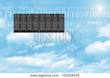 Set of metal lockers on sky background