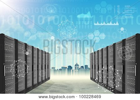 Metal locker on abstract cityscape background