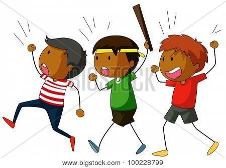 Group of boys on strike illustration